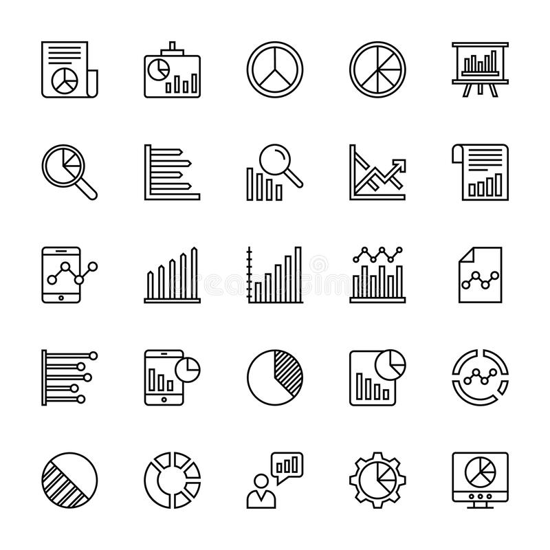 Business Charts and Diagrams Vector Line Icons 3 royalty free illustration