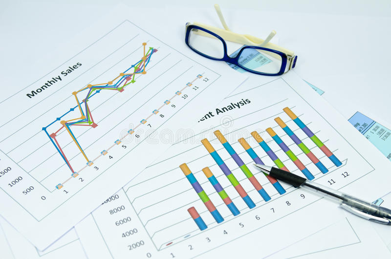 Business charts and graph with glasses eye and pen. Business graph with eye glasses and pen royalty free stock image