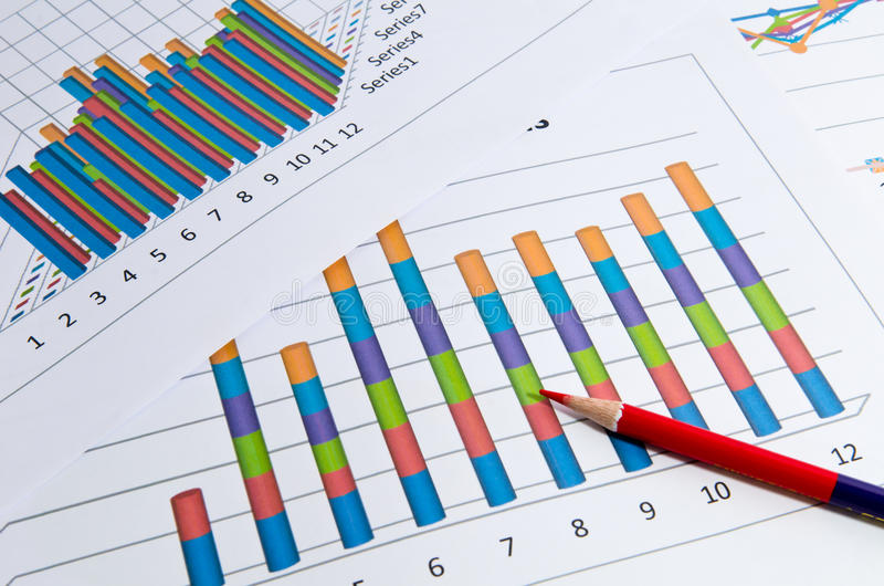 Business charts and graph and pencil. Business graphs report with pencil royalty free stock image