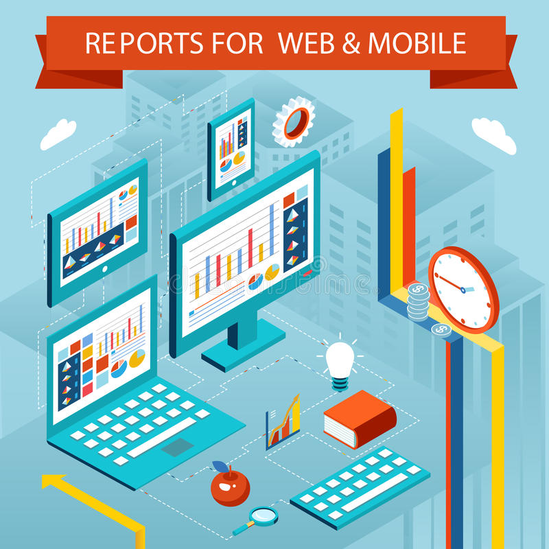 Business charts and reports on web pages, mobile vector illustration