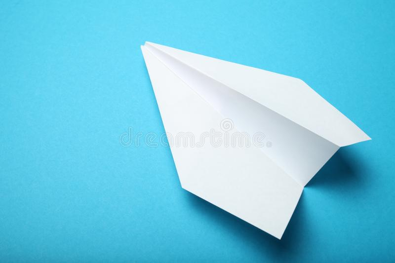 Business chat concept, white paper airplane.  royalty free stock image