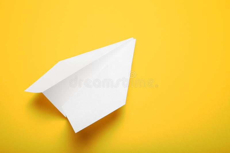 Business chat concept, white paper airplane.  royalty free stock photography