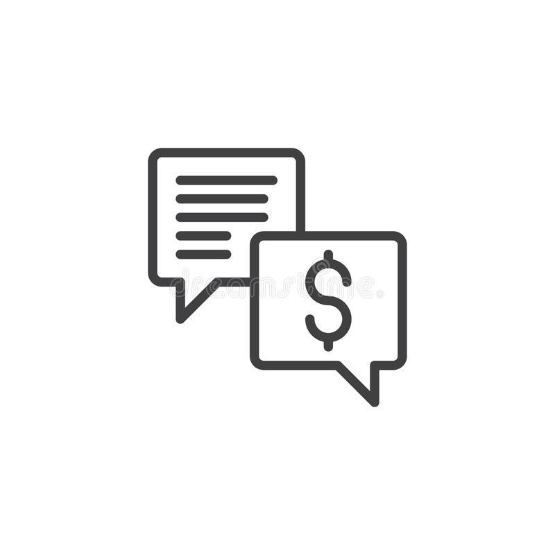 Business chat dialogue line icon stock illustration