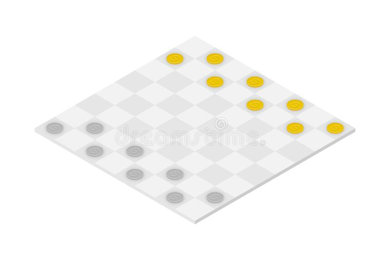 Business Checkers Game set, Dollar coin concept idea illustration stock illustration