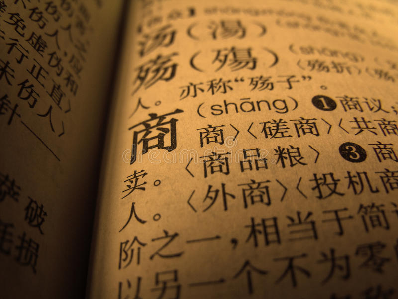 BUSINESS IN CHINA. Translation Of Business Into Chinese Language, Dictionary Page royalty free stock image