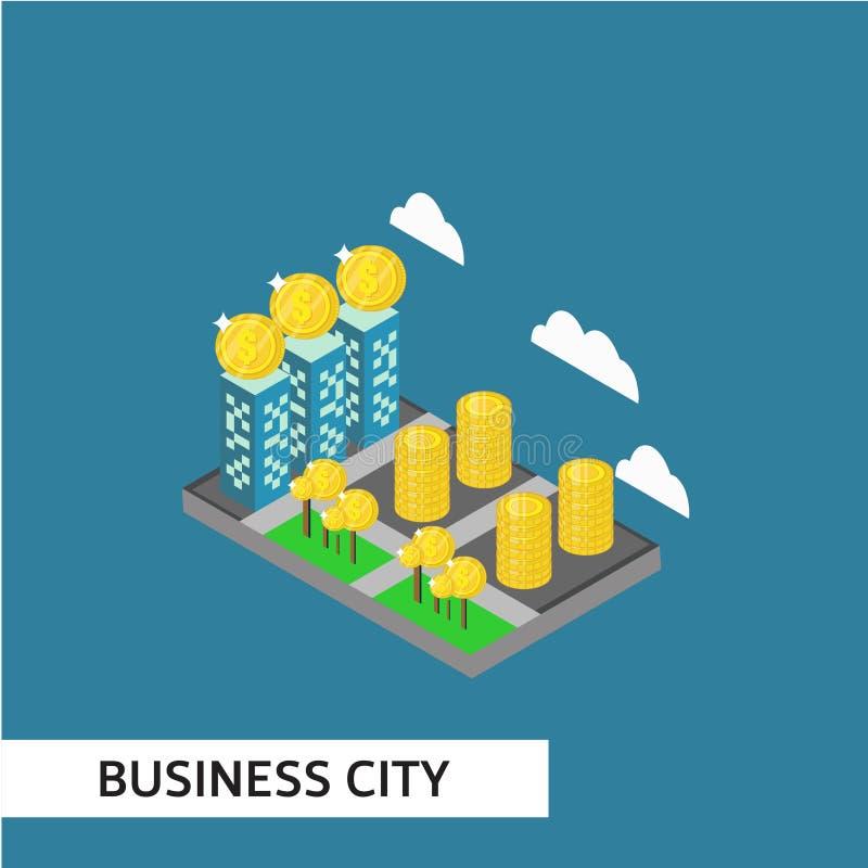 Business City Isometric Vector Template Design Illustration. City isometric vector business house architecture map urban 3d skyscraper smart illustration street stock illustration