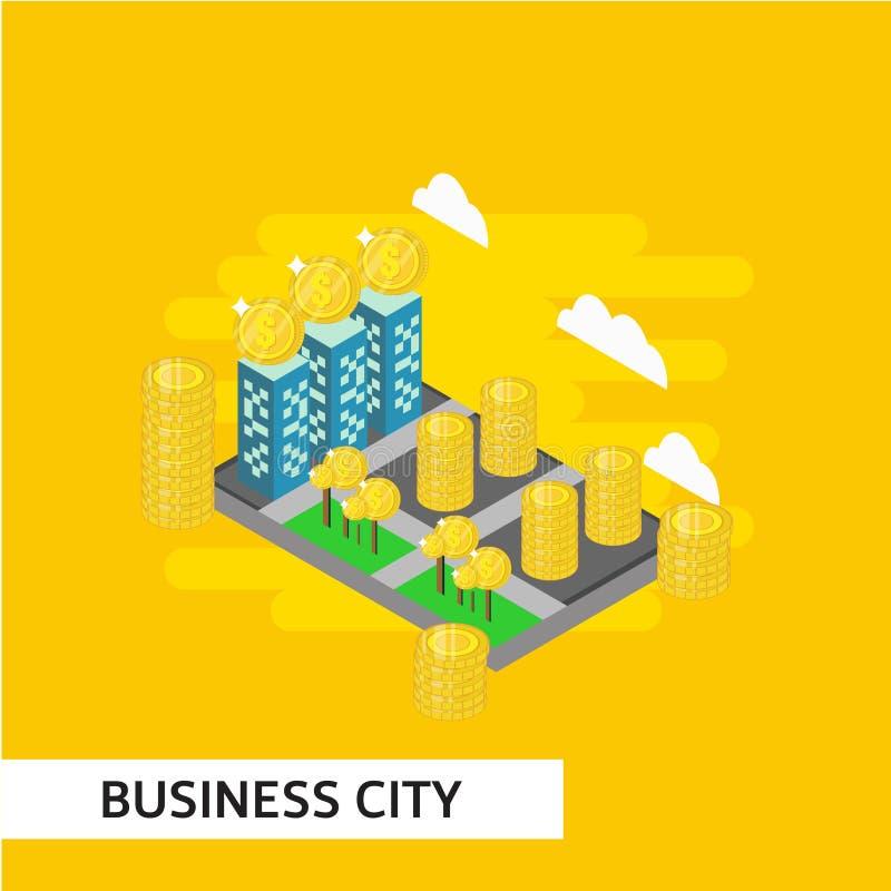 Business City Isometric Vector Template Design Illustration. City isometric vector business house architecture map urban 3d skyscraper smart illustration street royalty free illustration