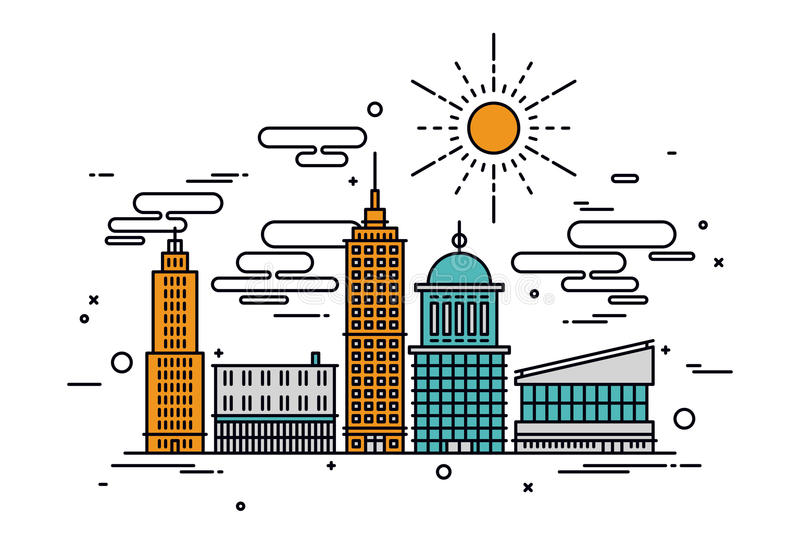 Business city line style illustration. Thin line flat design of business city architecture, commercial building and street facilities, major central district