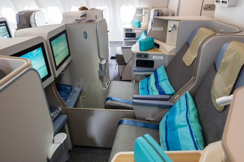 Business class Airbus A3330neo passenger plane Air Mauritius. LE BOURGET PARIS - JUN 20, 2019: Business class view of the Airbus A3330neo passenger plane from royalty free stock photo
