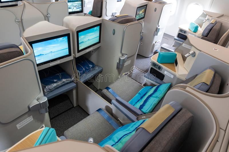 Business class Airbus A3330neo passenger plane Air Mauritius. LE BOURGET PARIS - JUN 20, 2019: Business class view of the Airbus A3330neo passenger plane from royalty free stock photography