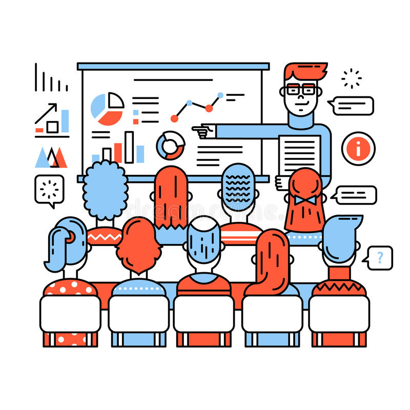 Business class, corporate training or seminar. Young teacher in glasses explaining new social media marketing strategy. Thin line art flat illustration with royalty free illustration