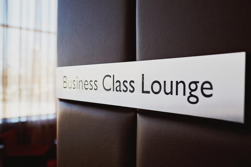 Business Class Lounge Sign stock images