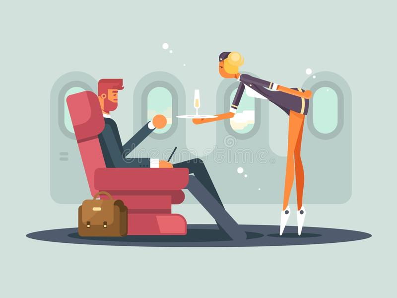 Business class on plane. Waitress brings champagne passenger. Vector illustration stock illustration