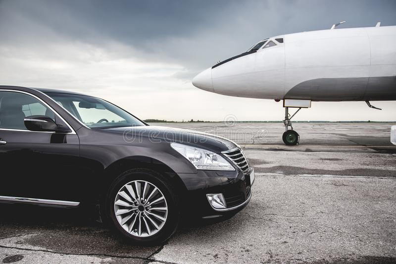 Business class service at the airport. Business class transfer. Airport shuttle stock photo