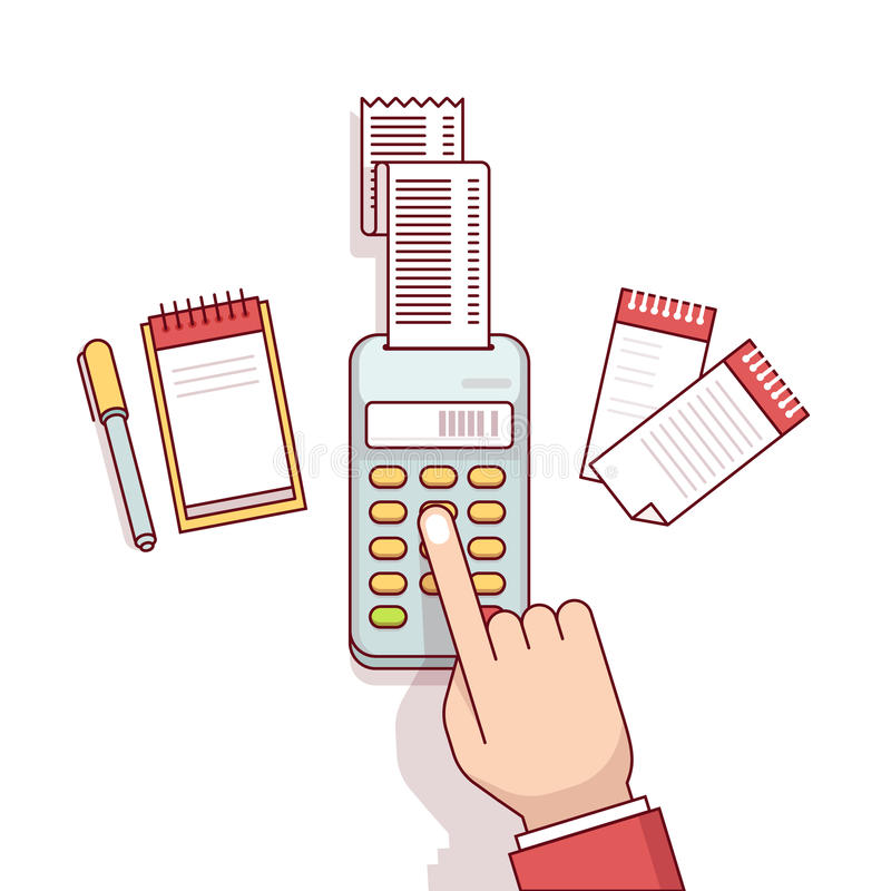 Business clerk making expense calculations. Office worker business clerk making expense calculations. Sitting at the desk with receipt printer and writing to a stock illustration