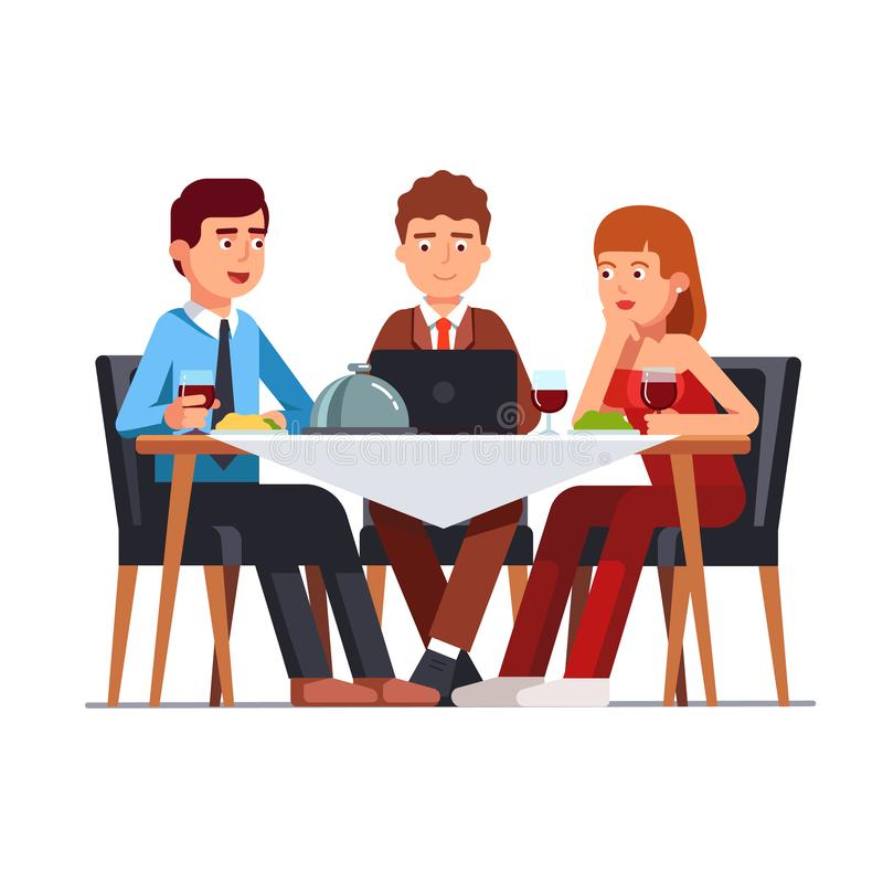 Business client meeting at restaurant table. Partners team having informal dinner discussing matters royalty free illustration
