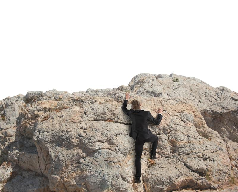 Business climbs a mountain royalty free stock image
