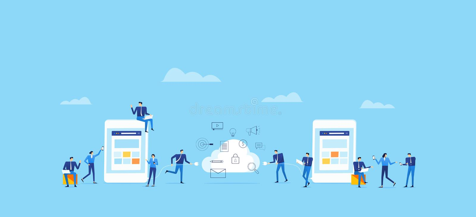 Business cloud computing and digital technology for business online royalty free illustration