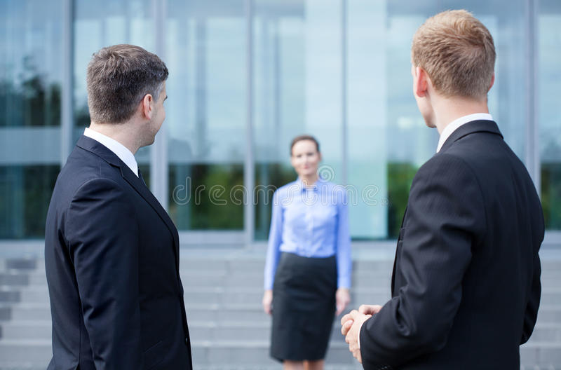 Business co-workers taking break from work. Outdoors royalty free stock photos