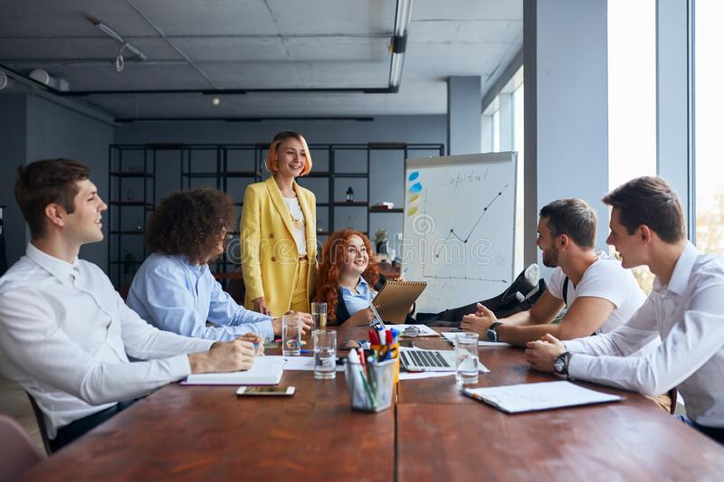 Managers business team discussing business ideas during the meeting in office royalty free stock photography