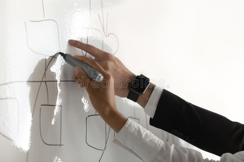 Business coach training employee, drawing on flip chart close up stock photography