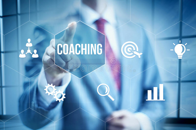 Business Coaching. Concept, businessman selecting interface royalty free stock images