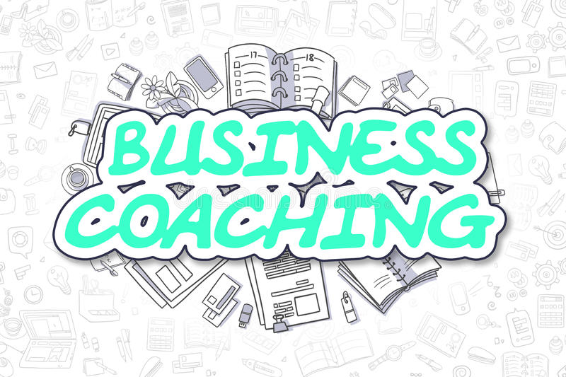 Business Coaching - Doodle Green Text. Business Concept. royalty free illustration