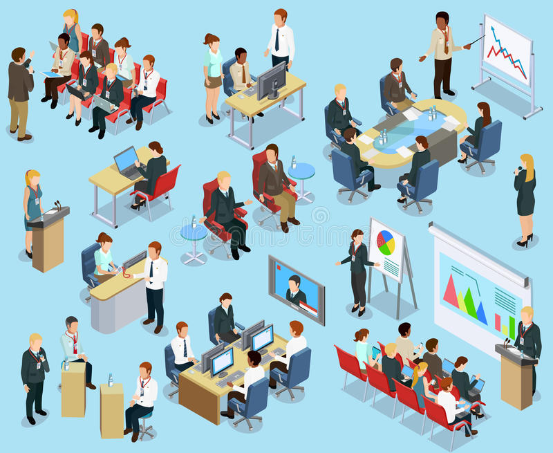 Business Coaching Isometric Collection stock illustration