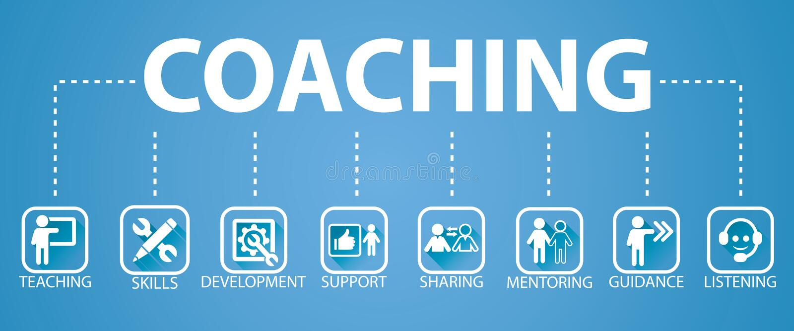 Business Coaching Leadership Mentoring Concept. Vector Illustration. Vector illustration. Business coaching mentoring concept. Icons words typography and symbol vector illustration