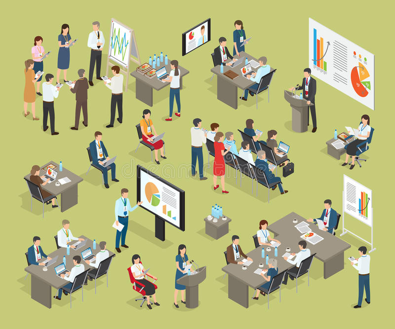 Business Coaching Vector Collection in Office royalty free illustration