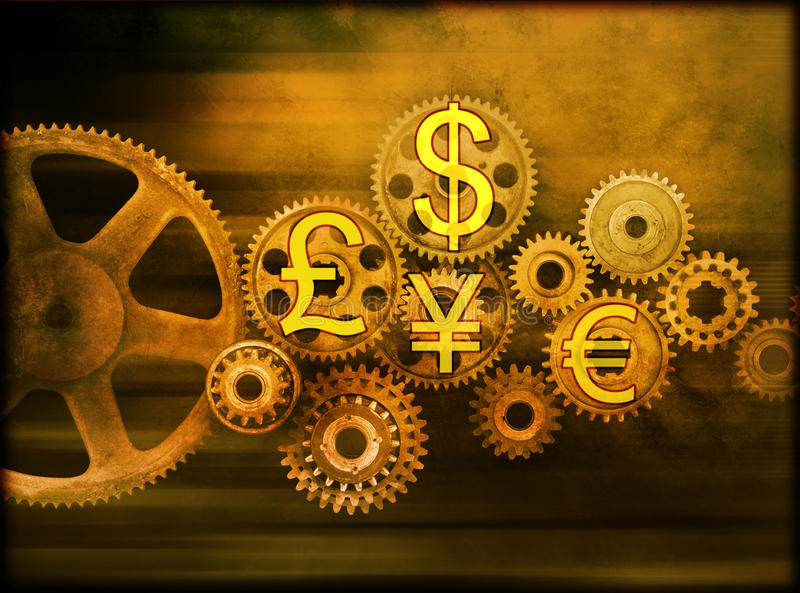 Business Cogs Global Money. Old cogs or gears with some of the worlds strongest currency symbols royalty free stock photography