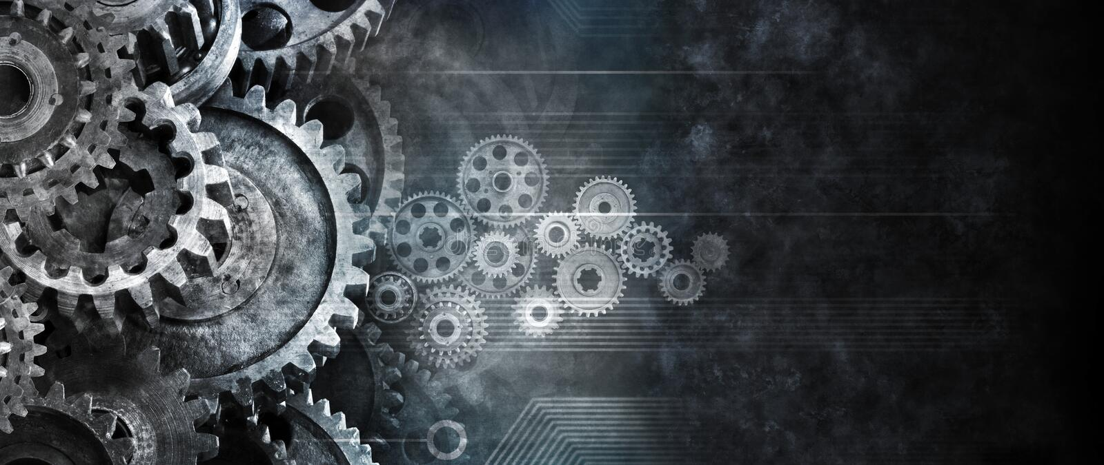 Business Cogs Technology Banner Background. A banner background with cogs and computer circuits