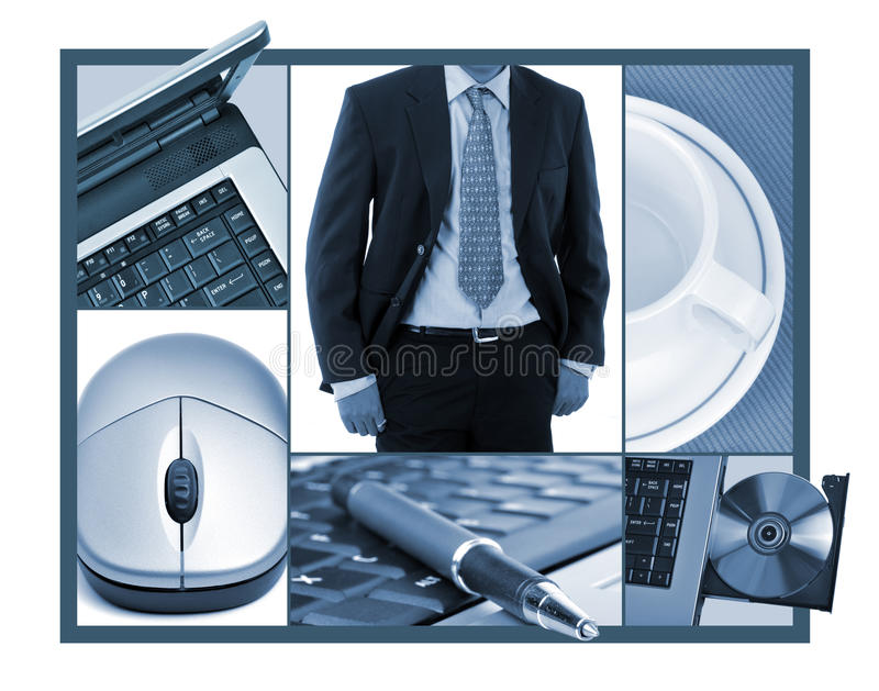 Business collage. Image design on white - pod out of images on frame stock illustration