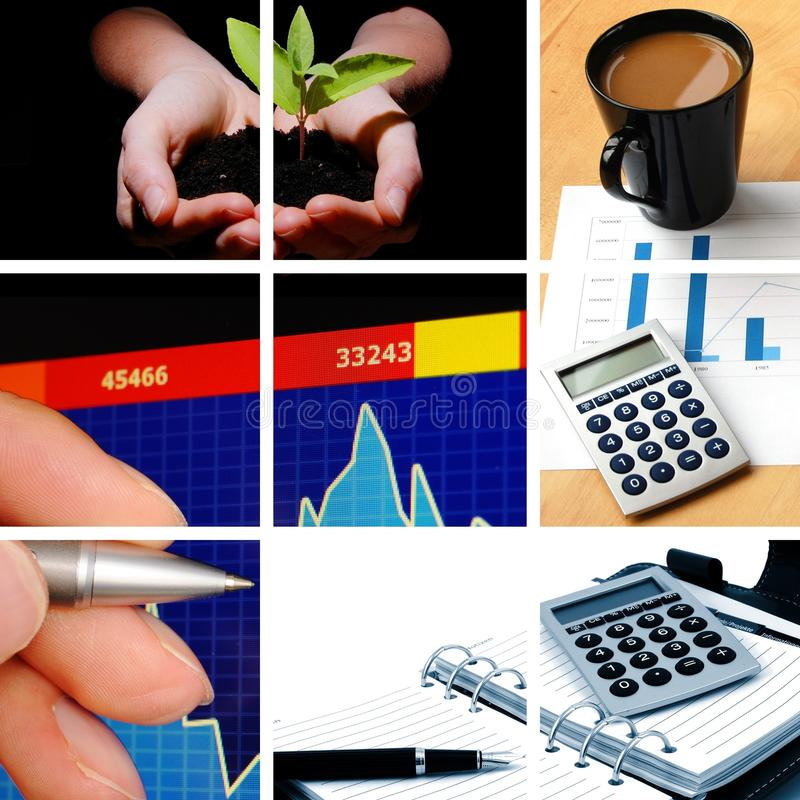 Business collage. Showing concept of finance and success royalty free stock photos