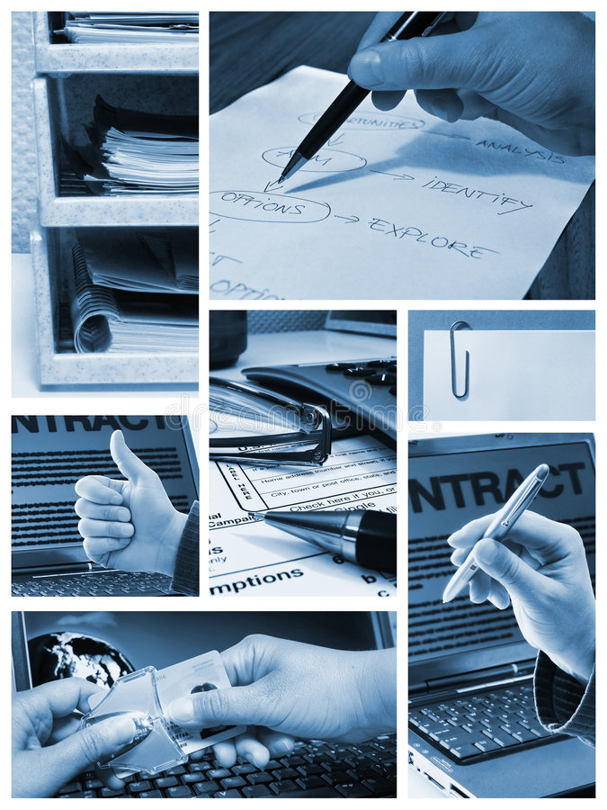 Business collage. Photo collage with images of business items, office work stock photography
