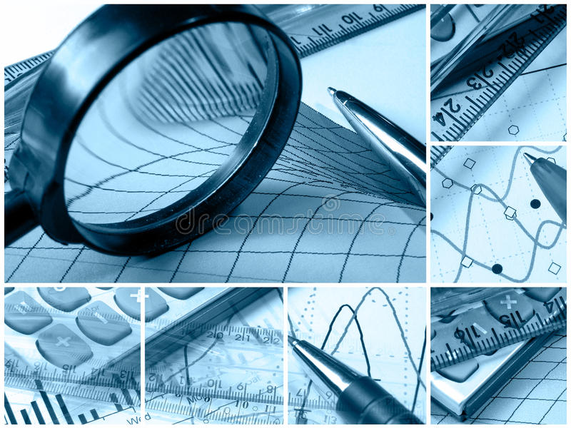 Business collage (blue). Business collage about reporting and accounting (blue stock photos