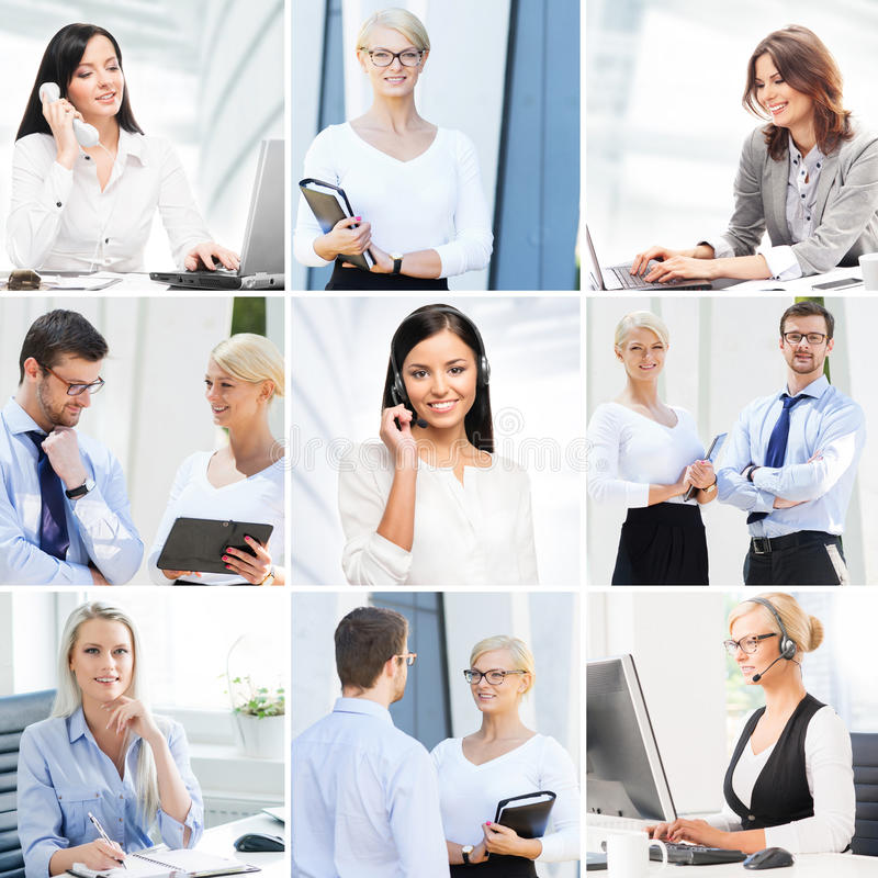 Business collage. Collection of photos about communication and office workers stock images