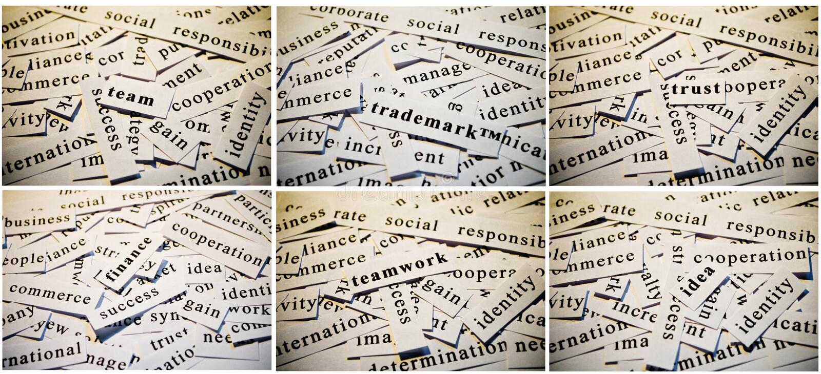 Business collage. Cut-outs of words related with business activity, accumulated in collage stock photos