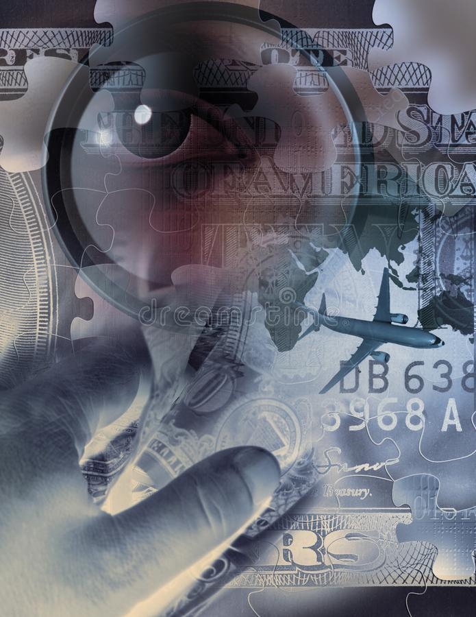 Business collage. Hand holds dollars. Airplane, magnify glass and eye. Human elements were created with 3D software and are not from any actual human royalty free stock images