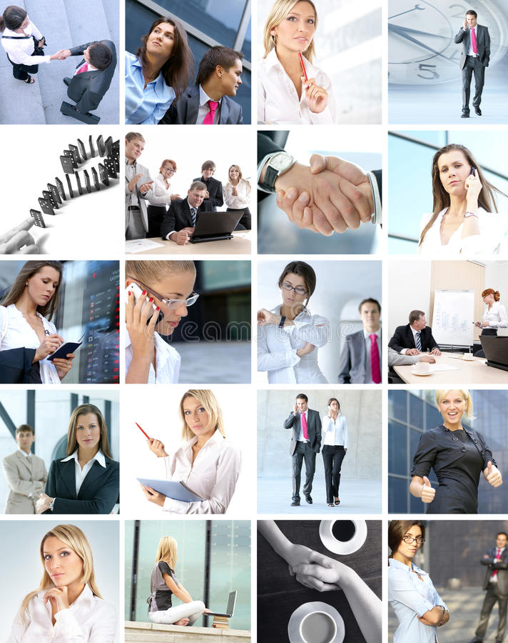 Business collage of images with people. Business collage of different images with business people royalty free stock photography