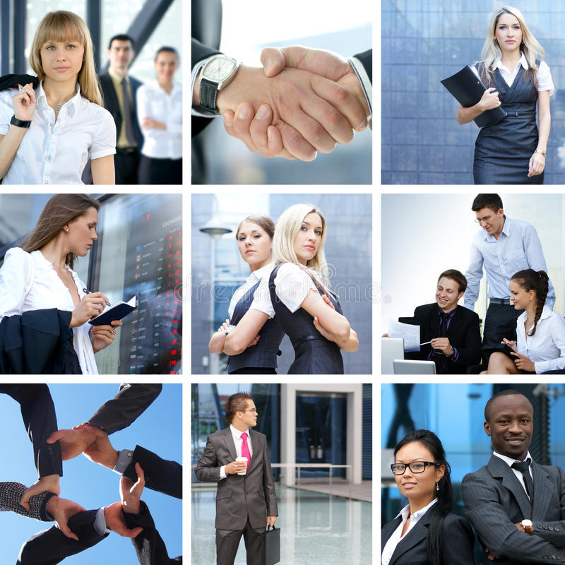 Business collage made of some business pictures stock photography