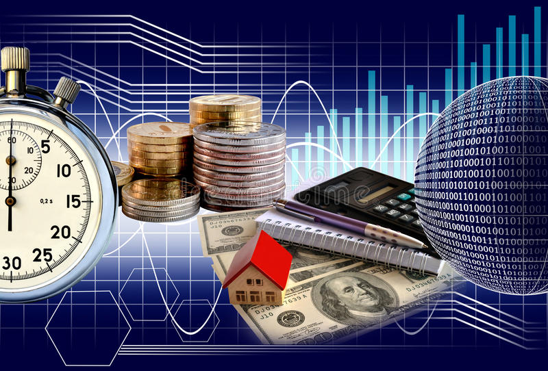 Business collage. Money and stopwatch on the background chart royalty free stock photography