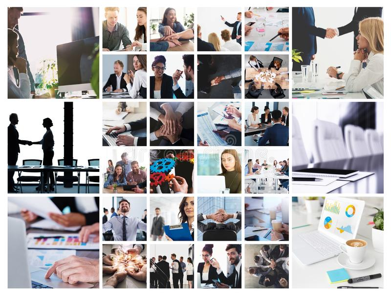 Business collage with scene of business person at work. Business collage with scene of business person in action at work royalty free stock photo