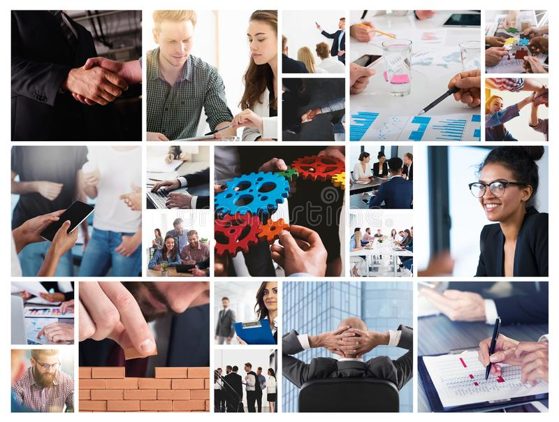 Business collage with scene of business person at work royalty free stock photos