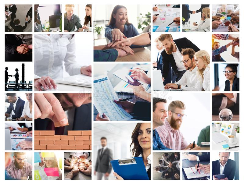 Business collage with scene of business person at work. Business collage with scene of business person in action at work royalty free stock images