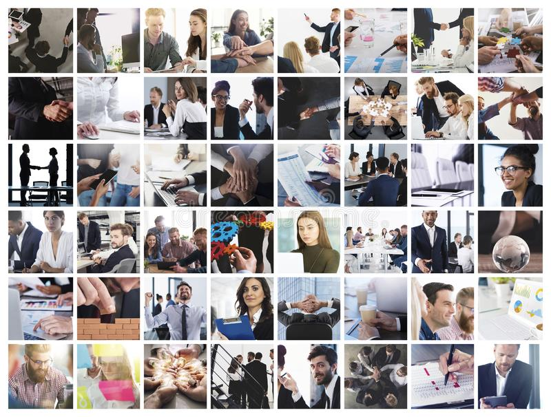 Business collage with scene of business person at work royalty free stock image