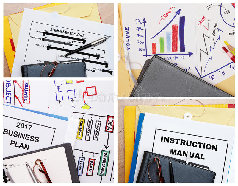 Business collage. Set of business astract collage- business plan,schedule and flowcharts stock image