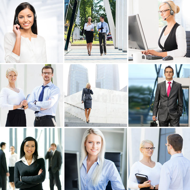 Business collage. Set of photos about communication and office workers stock photos