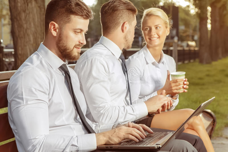 Business colleagues on coffee break stock photography