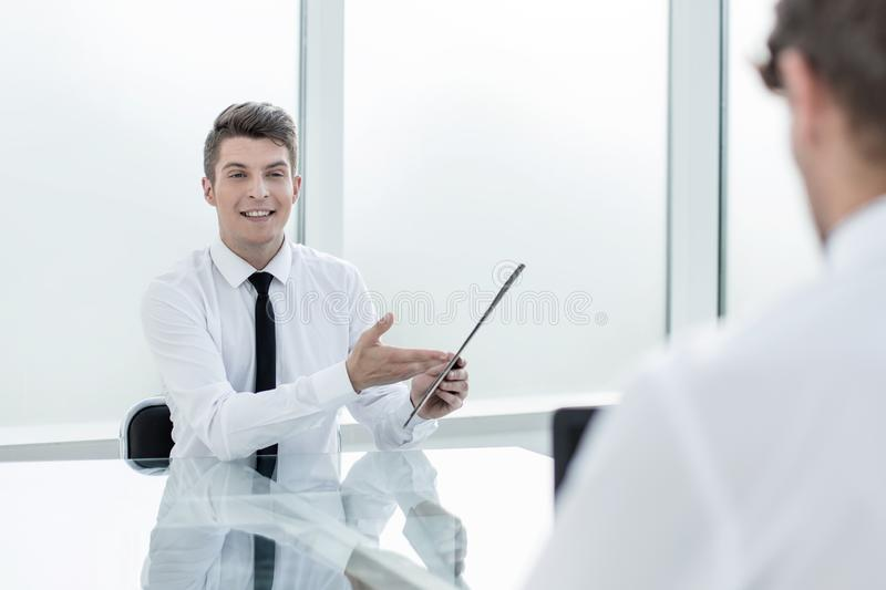 Business colleagues discussing business documents. royalty free stock photos